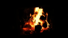 Fire and Burning coals in a stove Stock Footage