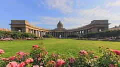 The roses in front of the Kazan Cathedral in Saint-Petersburg Stock Footage