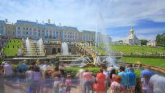 The Famous Samson Fountain in Peterhof Stock Footage