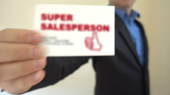 Super Salesperson Show Business Card - stock footage