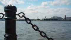 The Spit of Vasilievsky Island and Neva delta in Saint Petersburg Stock Footage