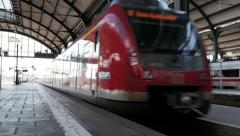 Leaving S-Bahn train Hauptbahnhof Wiesbaden - stock footage