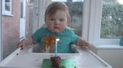 Babies First Birthday Cake - stock footage