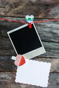 One polaroid photo frames and heart for valentine's day Stock Photos