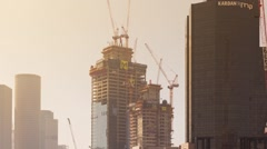 Skyscraper Construction Sites In Tel Aviv at Day,  Timelapse in motion Stock Footage