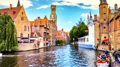 Bruges cityscape, Belgium. Timelapse Stock Footage