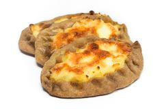 Traditional Karelian pies with potatoes. Wickets - Kalittoa - stock photo