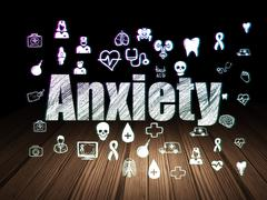 Stock Illustration of Health concept: Anxiety in grunge dark room