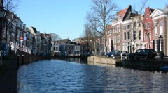 Winter day in Leiden, South Holland, Netherlands Stock Footage