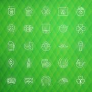 Saint Patrick Day Thin Line Icons Set - stock illustration