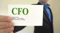 CFO Present Business Card Stock Footage