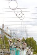 Electrical substation poles and wires Stock Photos