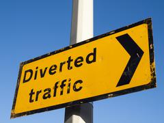 Diverted traffic sign - stock photo