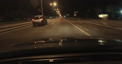 Night Fast Driving Highway Road White Lines POV 4K Stock Video 4 - stock footage