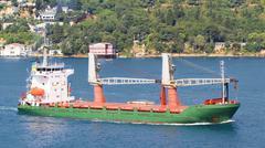Freighter sailing into Bosporus Sea. - stock photo