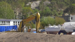 Excavator at Construction Site Stock Footage