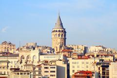Ancient Galata Tower at Beyoglu region in Istanbul - stock photo
