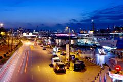 Eminonu Harbor on night in Istanbul Stock Photos