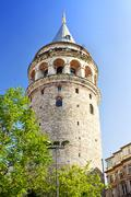 Galata Tower, ancient Genoese tower of Istanbul - stock photo