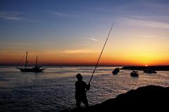 Fisherman by sunset Stock Photos