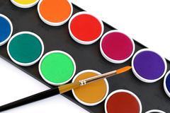 Multicolored watercolor box - stock photo