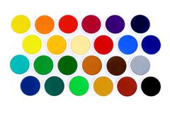 Multicolored water colors on white background - stock photo