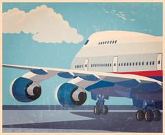 Big civil aircraft old poster Stock Illustration