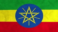 Ethiopian flag waving in the wind (full frame footage) - stock footage
