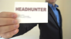 Headhunter Present Business Card Stock Footage