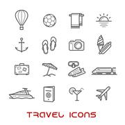 Travel and leisure thin line icons - stock illustration