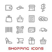 Stock Illustration of Shopping and retail thin line icons