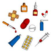Pills, drugs and medication icons Piirros