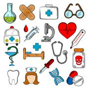 Medicine and medication icons set Stock Illustration