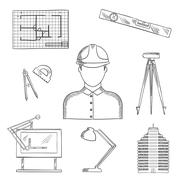 Architect and engineer profession icons - stock illustration