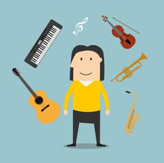 Musician and musical instruments icons Stock Illustration