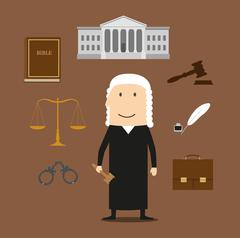 Judge with court and justice icons Stock Illustration