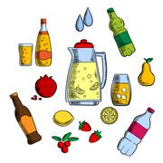 Beverages, alcohol and drinks set Stock Illustration