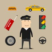 Taxi driver profession icons set - stock illustration