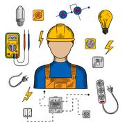 Electrician man, tools and equipment Stock Illustration
