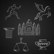 Greece culture and art chalk icons Piirros