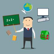 School teacher and education icons - stock illustration