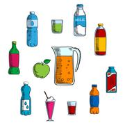 Non alcoholic beverage and drinks Stock Illustration