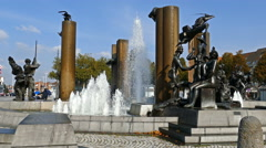 Fountain in squre TZand in Bruges. Belgium Stock Footage