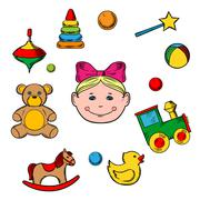 Childish toys and little girl - stock illustration