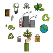 Environment and ecological conservation icons - stock illustration