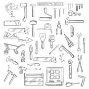 Construction and repair tools or equipment - stock illustration