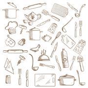 Kitchen utensil and kitchenware icons - stock illustration