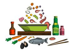 Seafood dish with salad ingredients - stock illustration