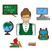 School teacher profession and education icons - stock illustration