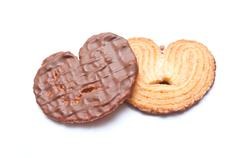 Duo of chocolate biscuit heart shape Stock Photos